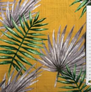 Bilde av Bomull og viscose fargerike blader okergul