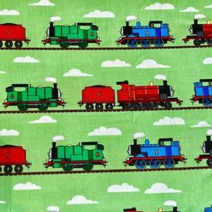 Bilde av Bomull Thomas-toget - Thomas og venner på grønn bakgrunn
