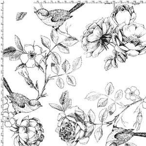 Bilde av Jersey digital blomster og fugler i sort/hvit