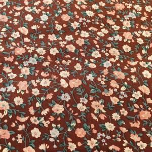 Bilde av Bomullspoplin - blomster små brun