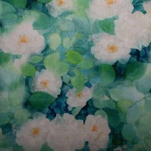 Bilde av Lin/viskose - store hvite blomster på grønn bakgrunn