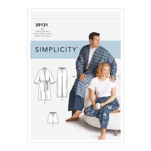 Bilde av Simplicity S9131 Morgenkåpe og pysjamasbukse til mann og dame
