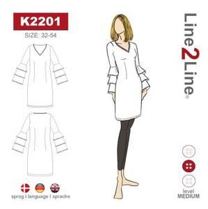 Bilde av Line2Line K2201 Kjole med ermer med volanger