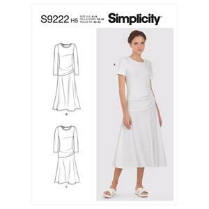 Bilde av Simplicity S9222 Kjole med asymmetriske detaljer