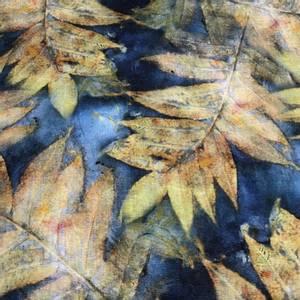 Bilde av Lin/viskose - store blader, mørk blå
