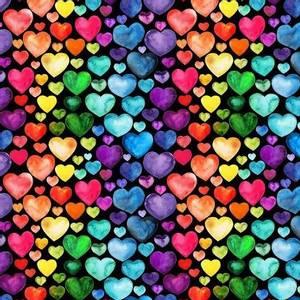 Bilde av Jersey digital hjerter i regnbuefarger, sort bunn