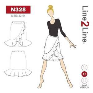 Bilde av Line2Line N328 Skjørt med omslageffekt og rysjer