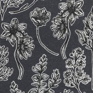 Bilde av French Terry - Blomster mørk grå